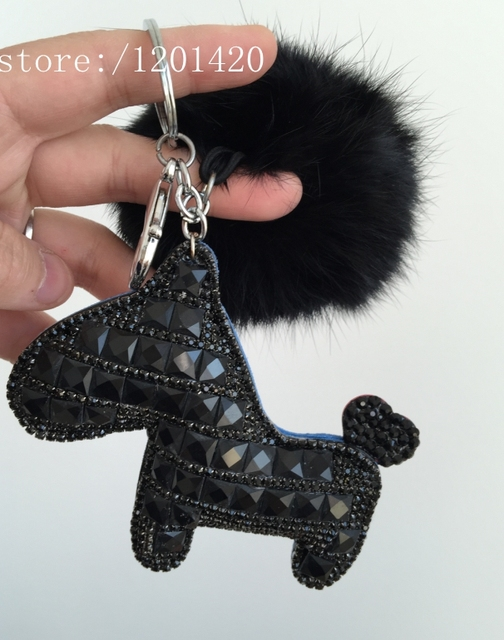 New Black Crystal Horse Key Chain Cute Fox Fur Pompom Car Key Ring Creative Women Horse Handbag Wallet  Charm Pendant Bag Bug