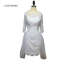 E Jue Шунг белый Кружево Аппликации спинки Короткие Свадебные платья Половина рукава Арабский Свадебные платья Vestido De Noiva Курто