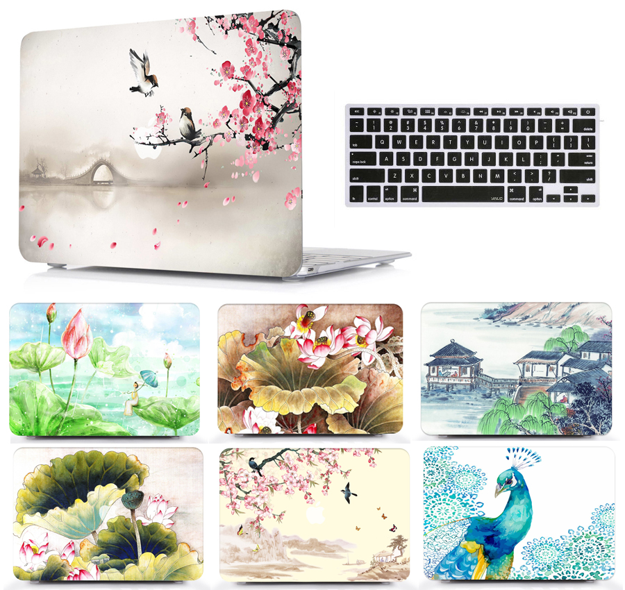 Paint Laptop Protective Hard Shell Case Keyboard Cover Skin Set Pouch For 11 12 13 15