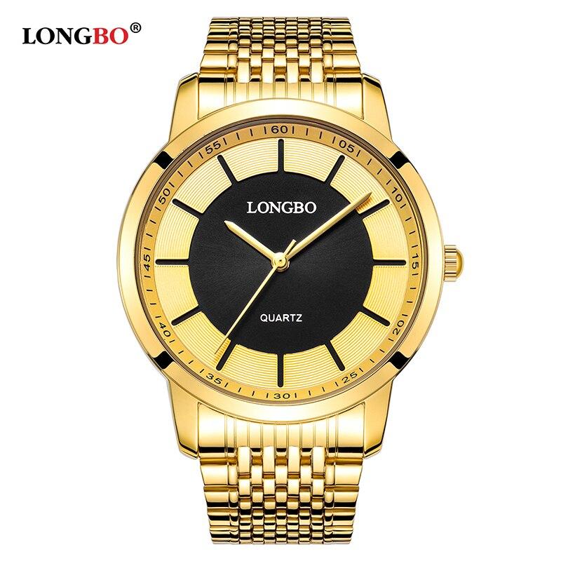 Longbo Quartz Watch Lovers Watches Women Men Couple Analog Watches Steel Wristwatches Fashion Casual Watches Gold 1/pcs 80281
