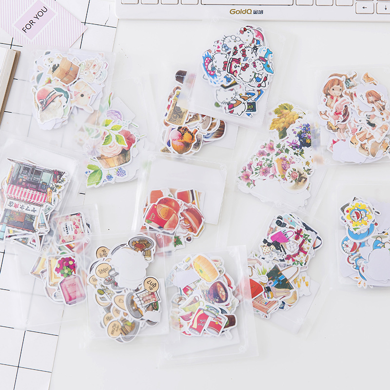 1 Pcs Cartoon Decorative Sticker Pack School Student Diary Label Scrapbooking DIY Kawaii Stickers Stationery Children Gift image