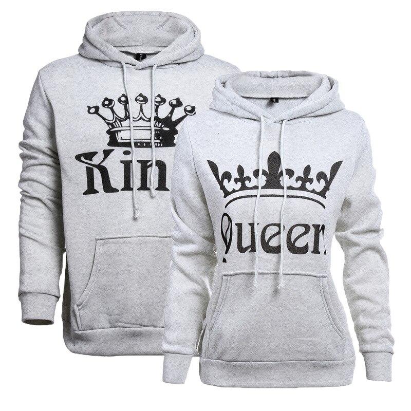 2017 neue Frauen Männer Hoodies König Königin Gedruckt Sweatshirt Liebhaber Paare Hoodie Kapuzenpulli Lässig Pullover Trainingsanzüge