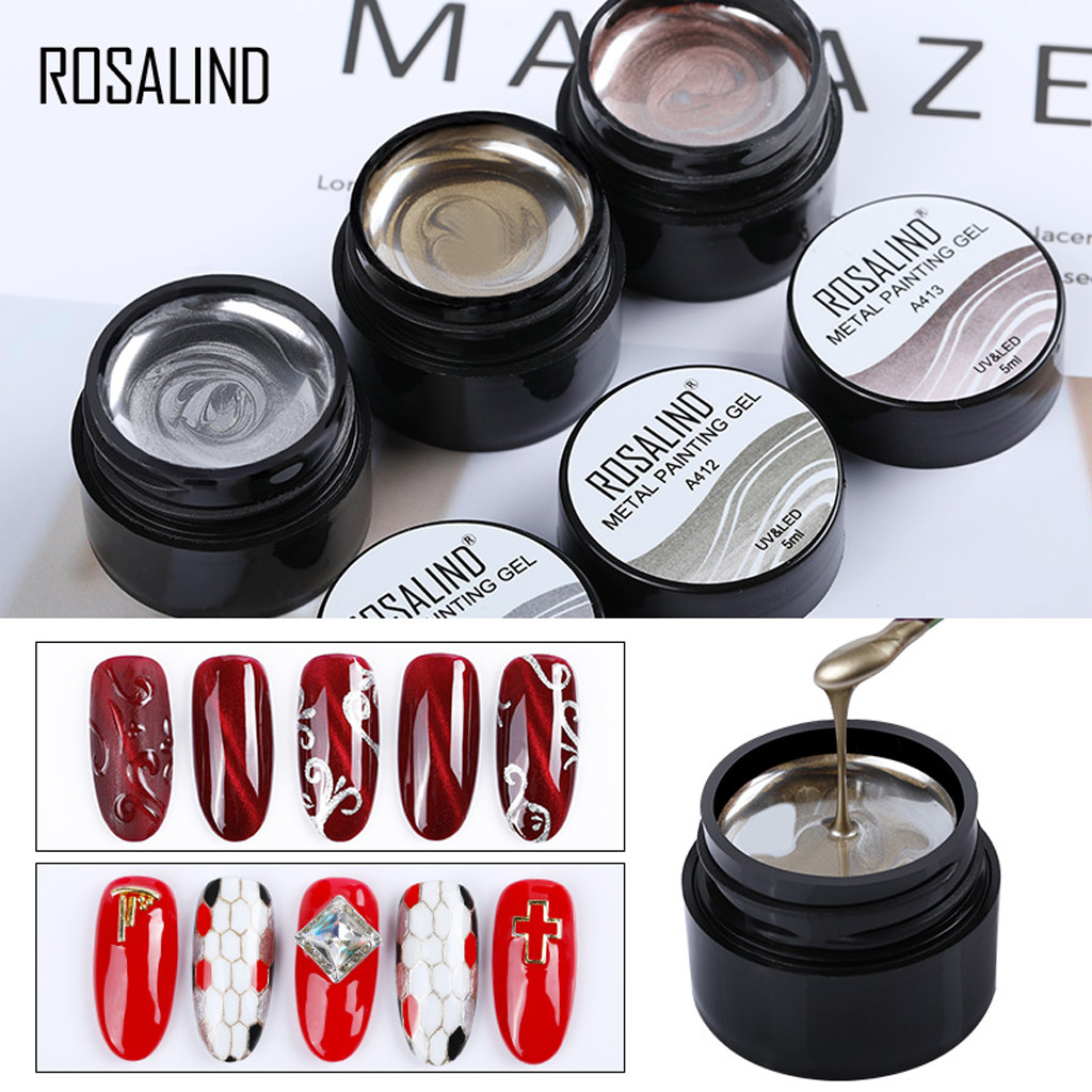 Nail Art Metallic Paint DIY Nail Gel Polish Art Creative Nail Applique Shiny Art Paint*