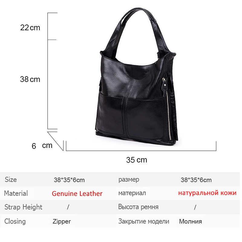 Vintage Marka Yeni hakiki deri çanta Bayanlar Inek Derisi Büyük Kapasiteli Tote Çanta Ana Kesesi Ünlü Tasarım Bayan Siyah Crossbody Çanta