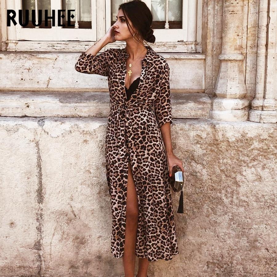 RUUHEE Women Cover-Up Leopard Snake Bikini Cover Up Swimsuit Long Beach Dress Button Bathing Suit Ladies Swimwear Beach Wear