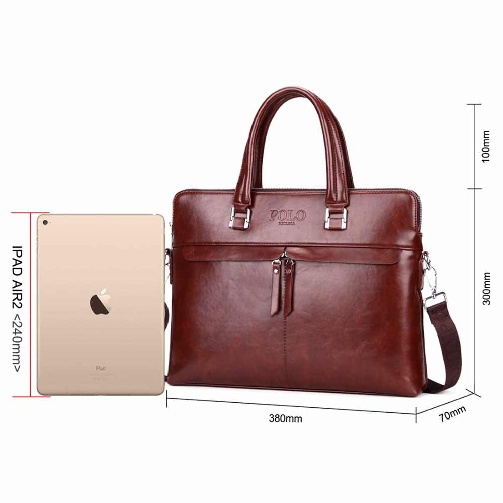 47c25587ee ... VICUNA POLO Causal Business Double Layer Business Man Briefcase Large  Brand Mens Leather Laptop Bags OL ...
