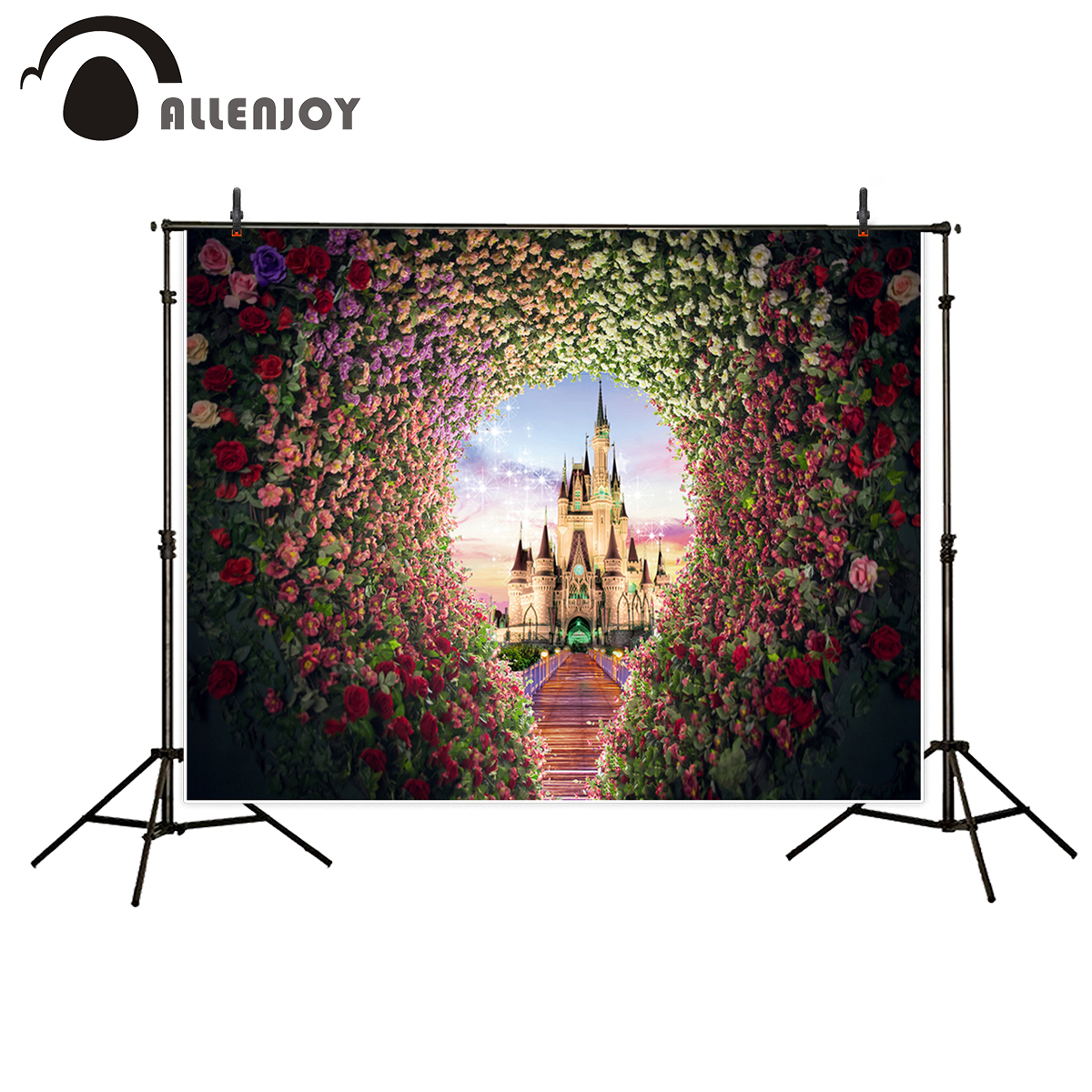 Allenjoy fantasy photography props wedding photo backdrop castle flowers bridge aesthetic background for photographic studio  allenjoy photographic background castle butterfly purple stars newborn photography photo for studio send rolled wood