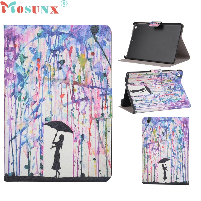 цены mosunx Mecall Tech Graffiti girl Pattern Flip Stand Leather Case Cover For iPad Mini 1 2 3