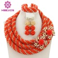 Exclusive Coral Nigerian Wedding African Jewelry Sets Gold Dubai Jewelry Set Indian Bridal Beads Set  Free Shipping WB308