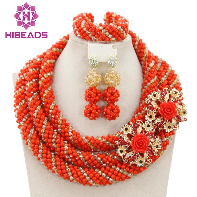 Hesiod Indian Wedding Jewelry Sets Gold Color Full Crystal: Exclusive Coral Nigerian Wedding African Jewelry Sets Gold