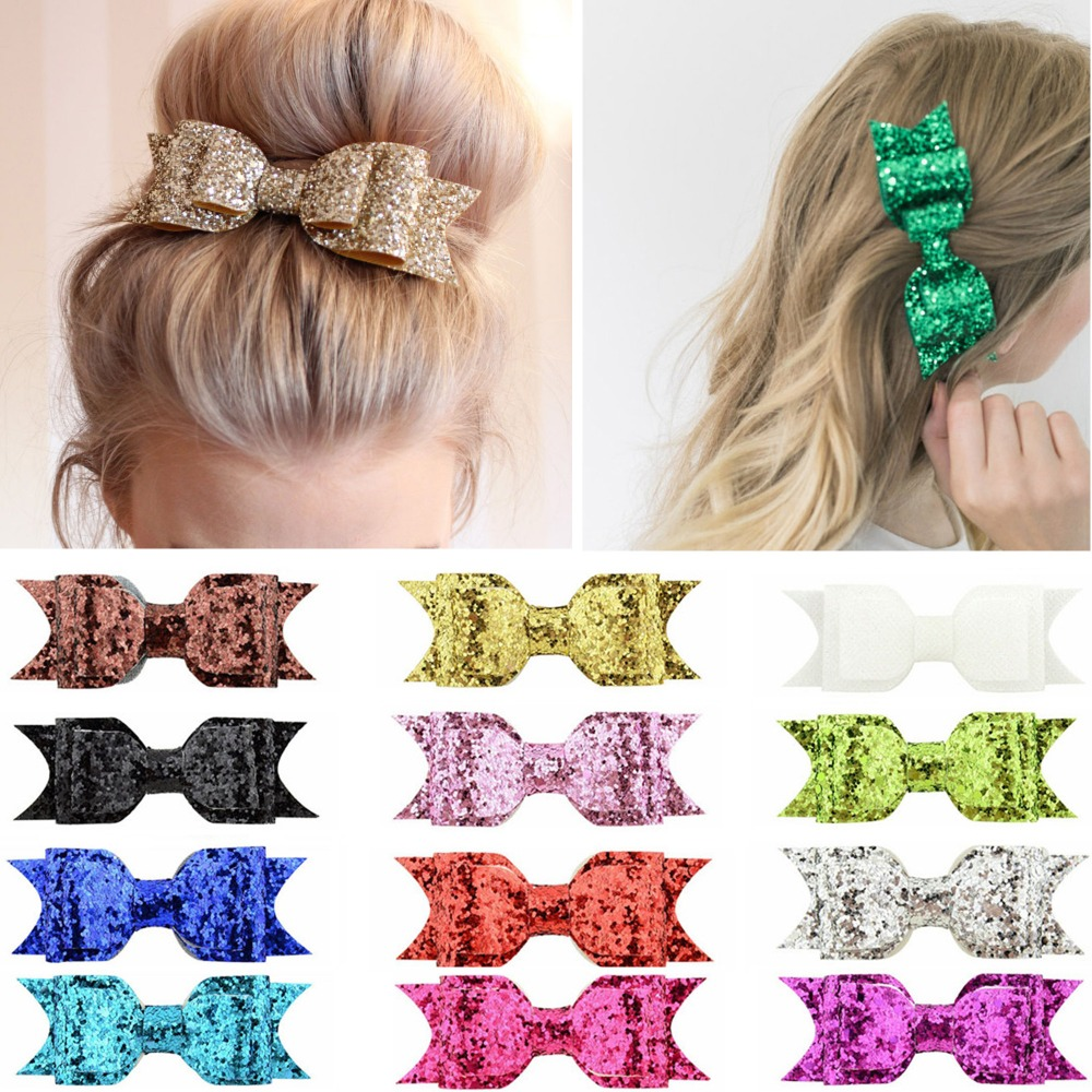 Ruoshui Girls Glitter Hairpins Woman Hair Bows Shining Barrettes Hair Ties For Child Baby Hair Clips Bowknot Hair Accessories