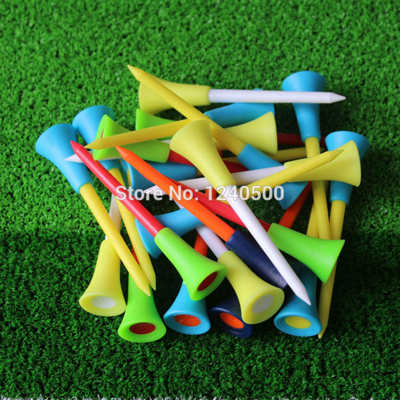 2017 New Golf Tools 50pcs 2 7/6 70mm Multicolor Plastic Golf Tees Rubber Cushion Top Golf Equipment Muticolor