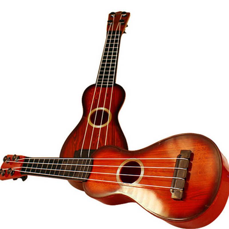 Ukelele de plástico con cuerda de instrumento Hawaiano para regalo de principiante de 35*9*3cm de Color al azar