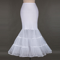 Women White Mermaid Petticoat 2017 Retro Vintage Summer Skirt Crinoline Underskirt Fishtail Petticoats For Wedding Bridal Gown