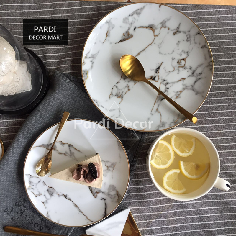 American style Gilt edged marble golden plate dinner plate/ Steak dish / dessert plate 1pc/lot