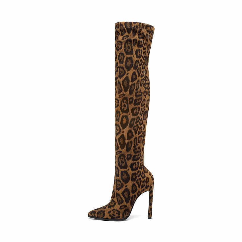 QUTAA 2020 Leopar Seksi Yüksek Topuk Kış Uzun Kadın Çizmeler Streç Moda Sivri Burun Diz çizmeler kadın ayakkabıları Boyutu 34 -43
