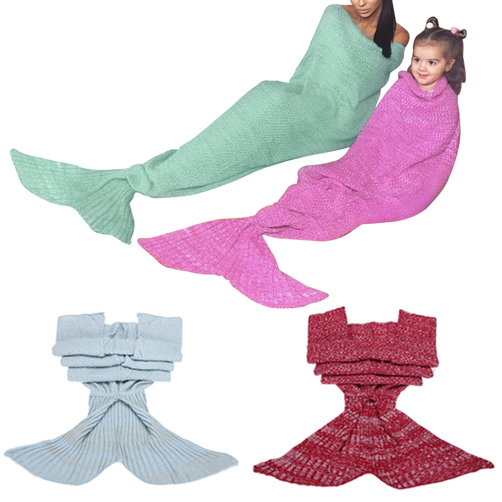 Children Adult Hand Crocheted Mermaid Tail Blanket Home Textile Adult Children Sofa Warm Throw Blanket Sleeping Bag Sleep Bed