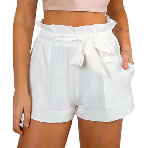 US-STOCK-Women-High-Waist-Crepe-Hot-Pants-Summer-Casual-Mini-Shorts-Beach-Shorts