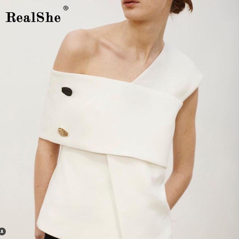 RealShe nouveau 2018 femmes haut de gamme biais col solide chemise femme à manches courtes boutons lâche Blouse dames mode haut