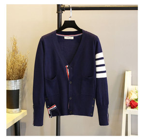 Image 2 - 3 color strip Women Knitted Cardigan Coat Autumn Winter Casual V Neck Long Sleeve Crochet Knit Sweater Coat Female Tops