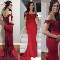 Sirena de Satén de Encaje Bordoneado Formal Largo Atractivo de Lujo Rojo 2018 Vestidos de Noche Del Partido Vestido de Fiesta Vestidos Por Encargo WS50