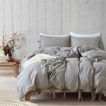 Funda de edredón gris de estilo moderno y Simple, juego de cama con lazo, suave y sedoso, transpirable, de lino, Queen y King