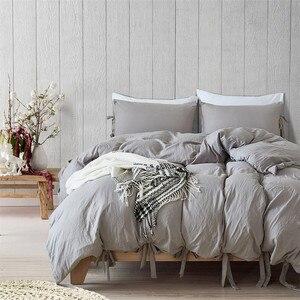 Image 1 - Funda de edredón gris de estilo moderno y Simple, juego de cama con lazo, suave y sedoso, transpirable, de lino, Queen y King