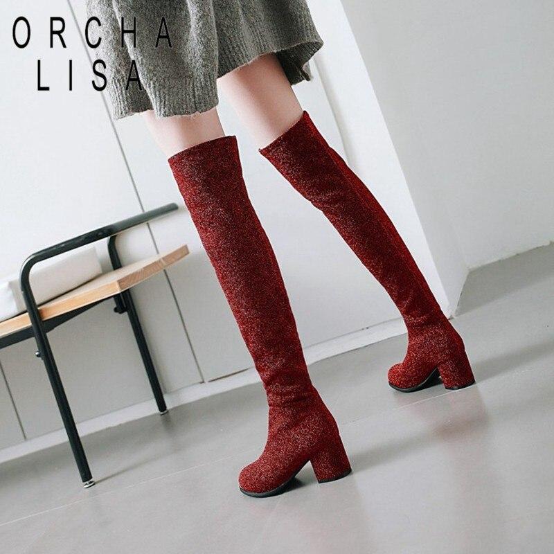Gruesa Zapatos Tacón De red Black Cuadrado Sobre Mujer Mujeres Lisa Dedo Del Pie Feminino Invierno Botas La B971 grey Rodilla Orcha Talón xw5qYPpxX