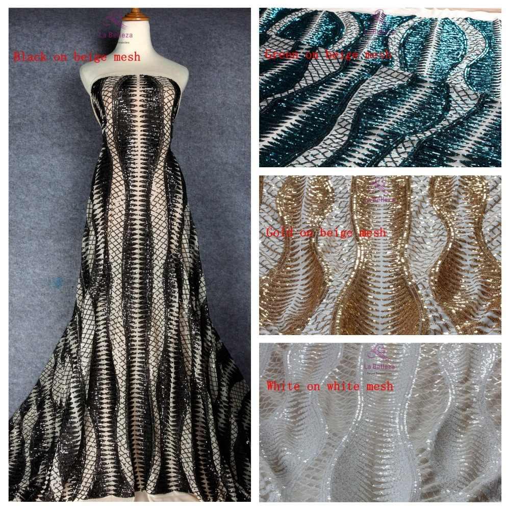 La Belleza 1 yard bianco/oro/verde/nero paillettes su di stirata della maglia ricamato da sposa/vestito da sera tessuto di pizzo del vestito 51 ''width