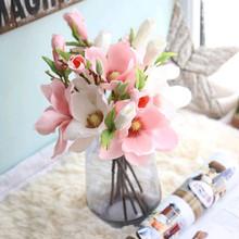 Magnolia sztuczne kwiaty sztuczne sztuczne kwiaty domu dekoracja na przyjęcie ślubne roślin rośliny doniczkowe 18100905 tanie tanio Party Jedwabiu Kwiat Oddział 5pcs Branches