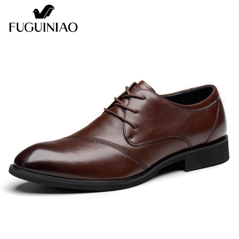 Pointed Toe sukienka buty/darmowa wysyłka! FUGUINIAO prawdziwej skóry mężczyzna formalne buty/buty męskie buty do biura/kolor czarny, brązowy w Buty wizytowe od Buty na  Grupa 1