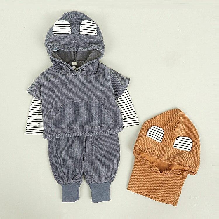 Baby Boys Clothing Set Children Hoodies +t Shirt +Pants 3pcs Suit Kids Corduroy Clothes Boys Girls Sets 2017 Autumn New Arrival стоимость