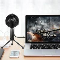 ALLOYSEED USB Wired Condenser Microphone Professional Table Tops Desktop Computer Mic with Stand for Broadcast Recording
