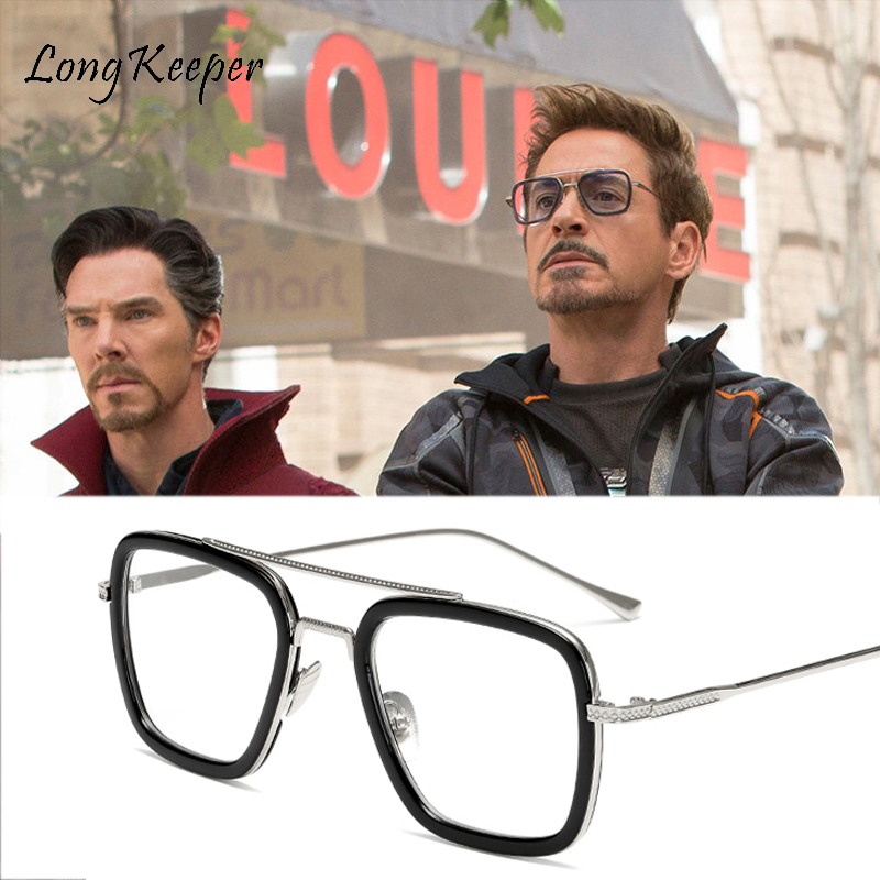 Long Keeper Square Glasses Frame Men Retro Clear Eyeglasses Frames Tony Stark Iron Man Glasses Frame Women Sunglasses Goggles