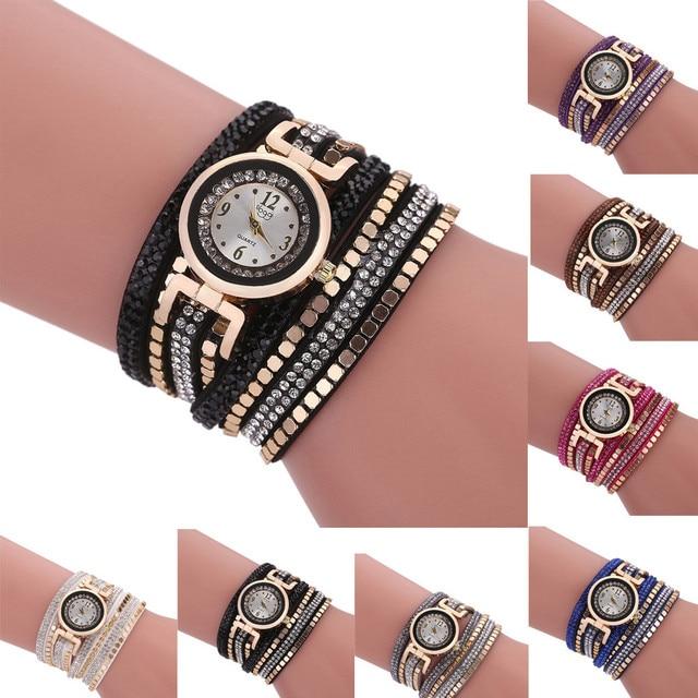 Ladies Fashion Women Vintage Rhinestone Crystal Bracelet Watches Round Case Dial Analog Quartz Wrist Watch reloj mujer