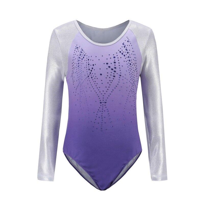 Children\'s Ballet Gymnastics Suit Dance Practice Clothes Dance Clothes Girls Long Sleeve Diamond Pattern Body Suit New