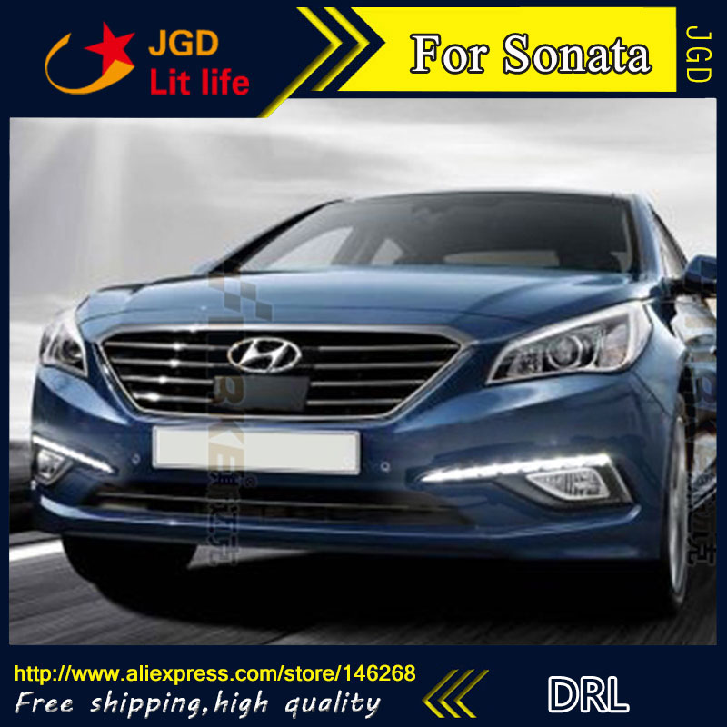 Free shipping ! 12V 6000k LED DRL Daytime running light for Hyundai Sonata 2015 fog lamp frame Fog light Car styling