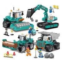 Construction Vehicles Engineering Excavator Bulldozer Model Building Blocks Compatible legoed Tech Enlighten Bricks Children Toy