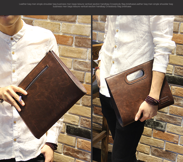 Business Casual Men Leather Designer Handbag High Quality Male Wallet Famous Brand Men's Large Capacity Clutch Bag Brown black 67