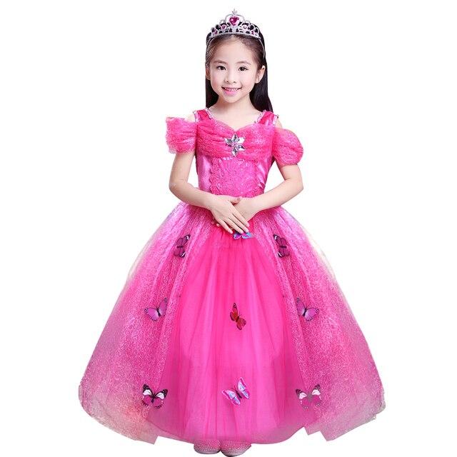 Christmas Princess Aurora dress Kids sleep beauty long dress Girls ...