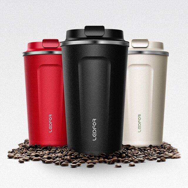 Tazas de café con tapa termo de acero inoxidable, botella de agua térmica aislada, taza de cerveza, termo de café, 2018