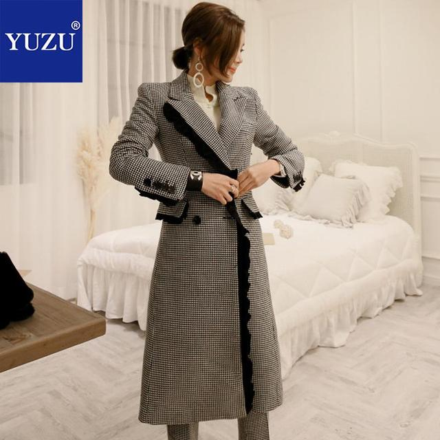 Pants Suits Elegant Woman Houndstooth Woolen Long Trench Coat Winter Double-breasted Long Sleeve Jacket Office Two Piece Set