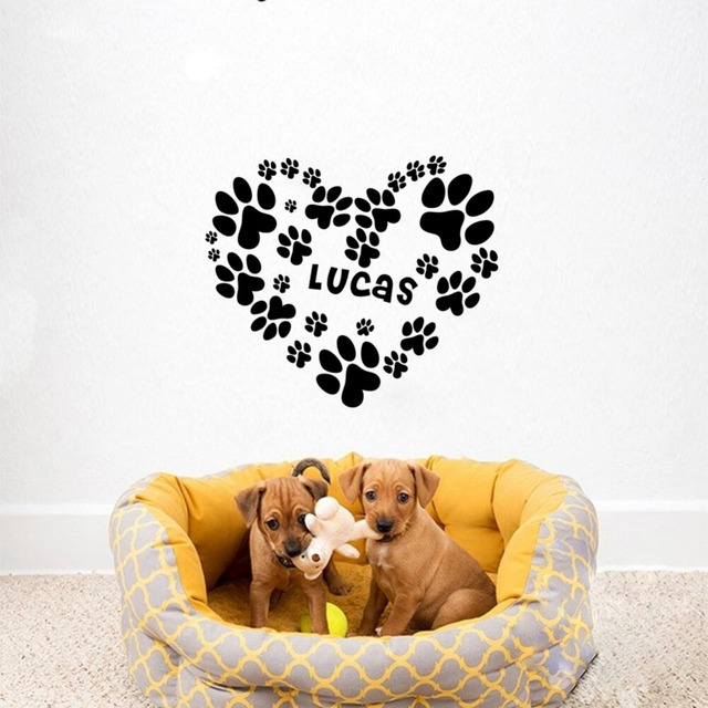 Creative custom dog puppy name with heart personalized wall stickers vinyl art decals for doghouse decoration