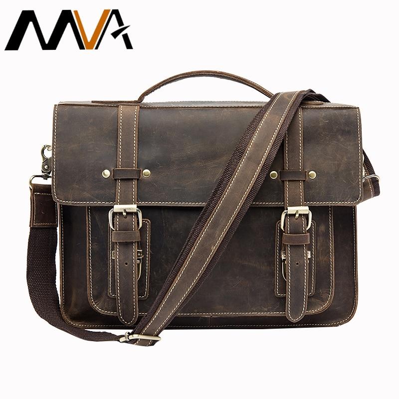 MVA Mâle Porte-Documents En Cuir Véritable Ordinateur Portable Sac Messenger sacs Hommes Épaule sac en cuir sacs à main porte-documents pour les documents 9019