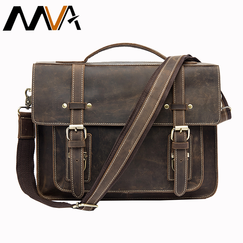 MVA Male Briefcases Genuine Leather Laptop Bag Messenger bags Men Shoulder bag leather handbags briefcase for documents 9019 mva genuine leather men bag business briefcase messenger handbags men crossbody bags men s travel laptop bag shoulder tote bags