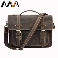 MVA Male Briefcases Genuine Leather Laptop Bag Messenger bags Men Shoulder bag leather handbags briefcase for documents 9019