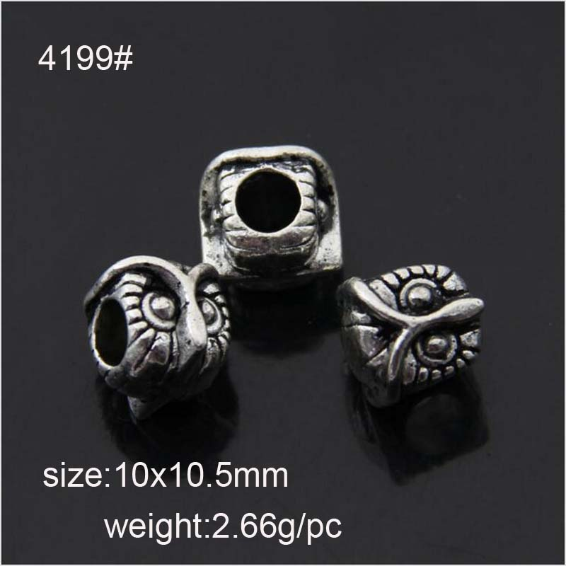 20PCS/Lot Alloy Beads OWL Shape DIY Big Hole Metal Beads Spacer Murano Bead Charm Fit For Pandora Charms Bracelet