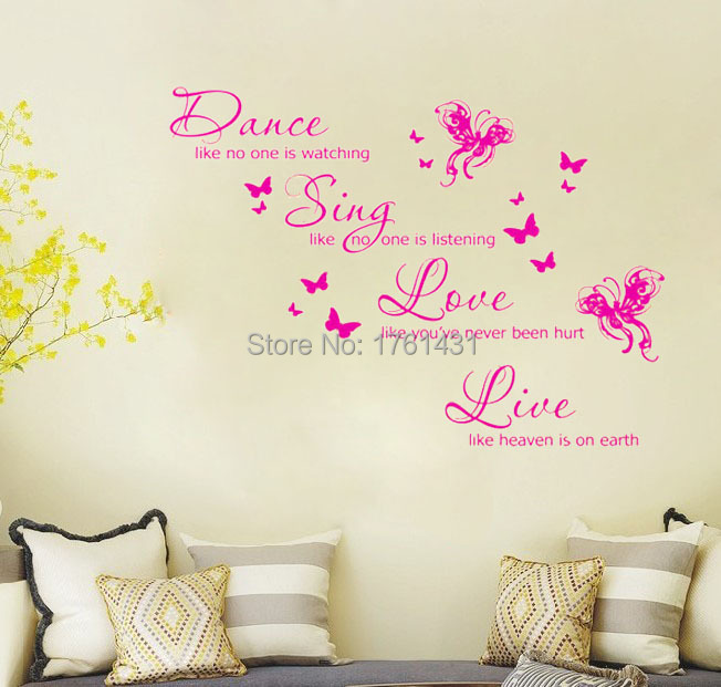 Dance like no one is watching live like heaven is on earth home decoration wall art decals quote living room wallpaper in wall stickers from home garden