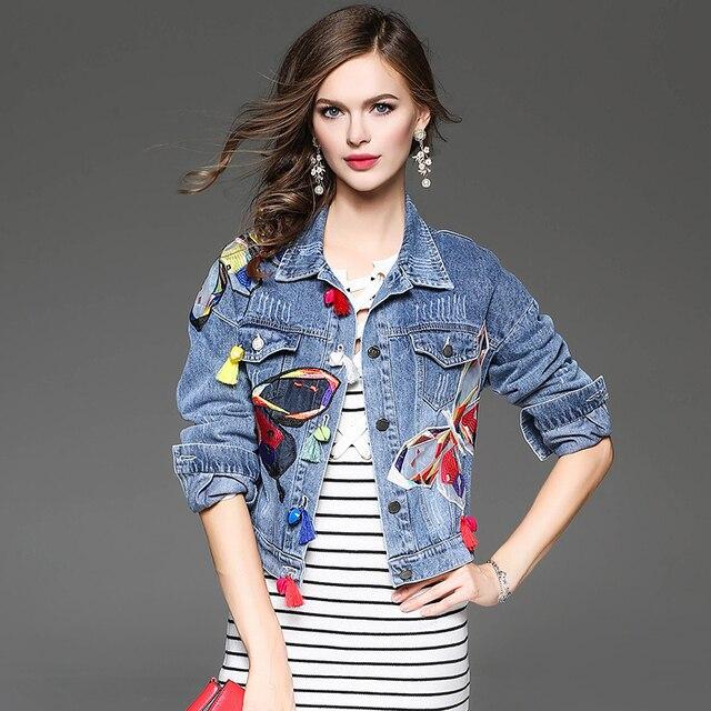 e51cbea1e Mulheres Outono Bordado Remendo Projeto Curto Encabeça Calça Jeans  Desgastado Jaqueta Jeans Fino Casaco Jaqueta Bomber
