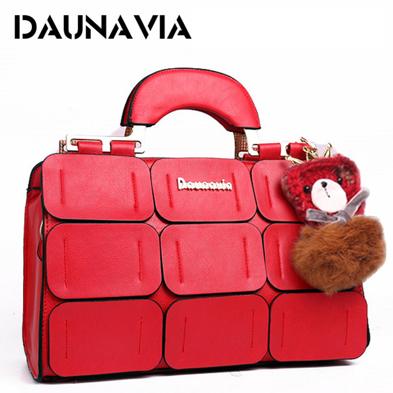 DAUNAVIA brand Boston bag women shoulder bag famous designer high quality PU leather handbags woman messenger bags crossbody bag bailar fashion women shoulder handbags messenger bags button rivets totes high quality pu leather crossbody famous brand bag